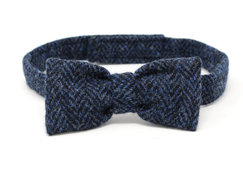 Hanna Hats Bow Tie Tweed - Classic Blue & Black Herringbone