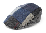 Hanna Hats Donegal Touring Cap Patchwork Grey Blue Tweed