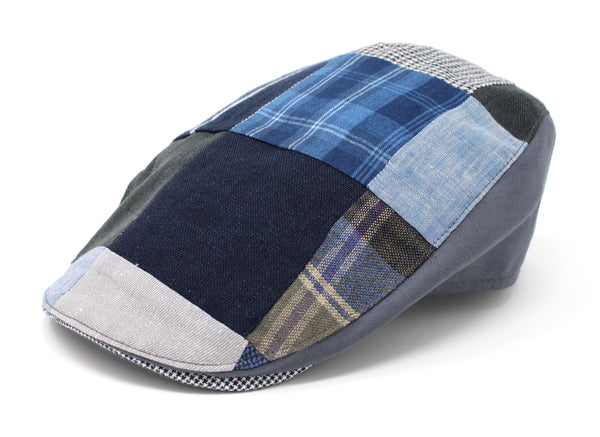 Hanna Hats Donegal Touring Cap Patchwork Grey Blue Linen