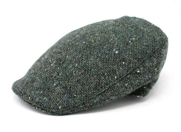 Hanna Hats Donegal Touring Cap Tweed - Dark Green Fleck Salt & Pepper