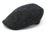 Hanna Hats Donegal Touring Cap Tweed - Black & Charcoal Herringbone - Harris Scottish Tweed