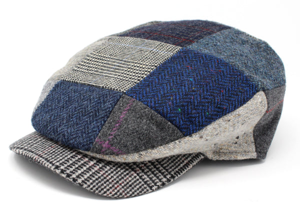 Hanna Hats Daithi Cap Patchwork Grey Blue Tweed