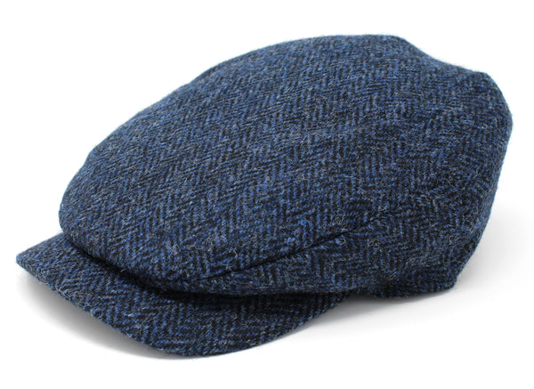 Hanna Hats Daithi Cap Tweed - Classic Blue & Black Herringbone - Harris Scottish Tweed