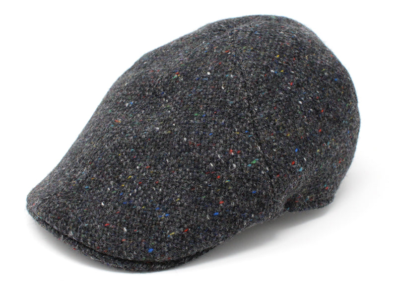 Hanna Hats Erin Cap Tweed - Dark Grey Charcoal Fleck Salt & Pepper