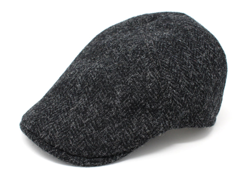 Hanna Hats Erin Cap Tweed - Black and Charcoal Herringbone - Harris Scottish Tweed