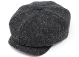 Hanna Hats JP Cap Tweed - Dark Grey Charcoal Fleck Salt & Pepper
