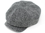 Hanna Hats JP Cap Tweed - Classic Black & White Herringbone - Harris Scottish Tweed