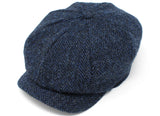 Hanna Hats JP Cap Tweed - Classic Blue & Black Herringbone - Harris Scottish Tweed