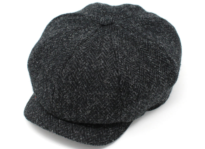 Hanna Hats JP Cap Tweed - Black & Charcoal Herringbone - Harris Scottish Tweed