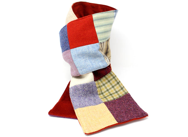 Hanna Hats Scarf Bright Patchwork Tweed Corduroy