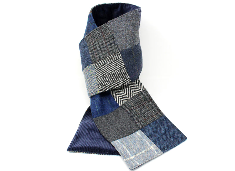 Hanna Hats Scarf Grey/Blue Patchwork Tweed Corduroy