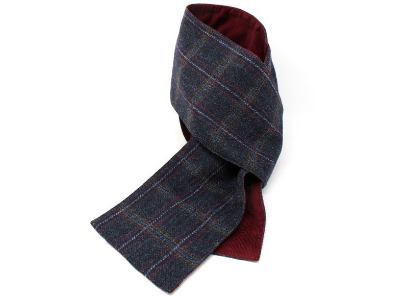 Hanna Hats Scarf Tweed/Corduroy - Navy Plaid Terracotta Overcheck - Wine Corduroy Lining