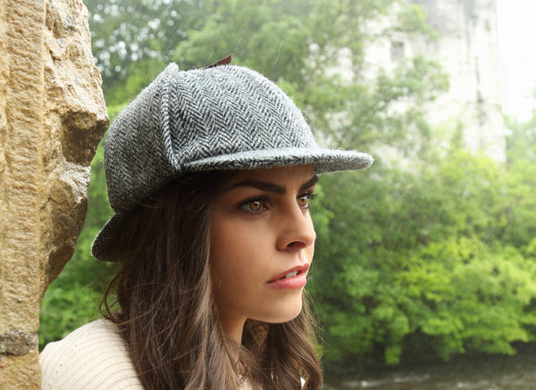 Hanna Hats Sherlock Holmes Hat Tweed - Classic Black & White Herringbone - Female Model