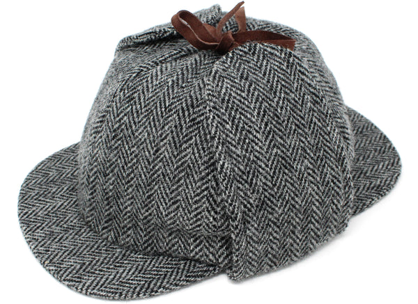 Hanna Hats Sherlock Holmes Hat Tweed - Classic Black & White Herringbone