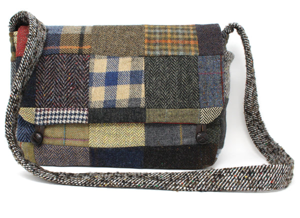 Hanna Hats Satchel Bag Patchwork Tweed