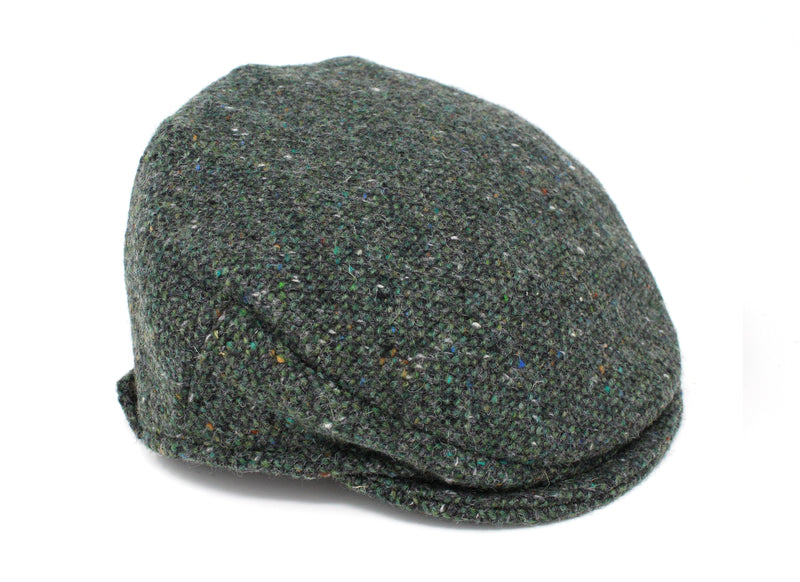 Children's Cap Tweed - Dark Green Fleck Salt & Pepper