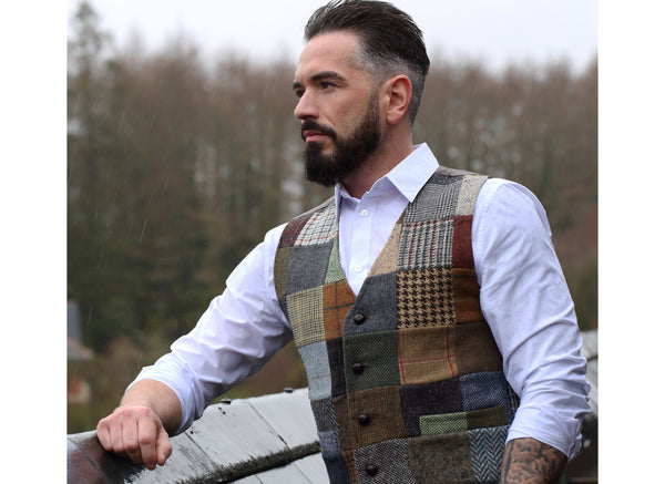 Waistcoat Patchwork Tweed Satin Back - Male Model