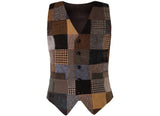 Waistcoat Patchwork Tweed Satin Back - Front
