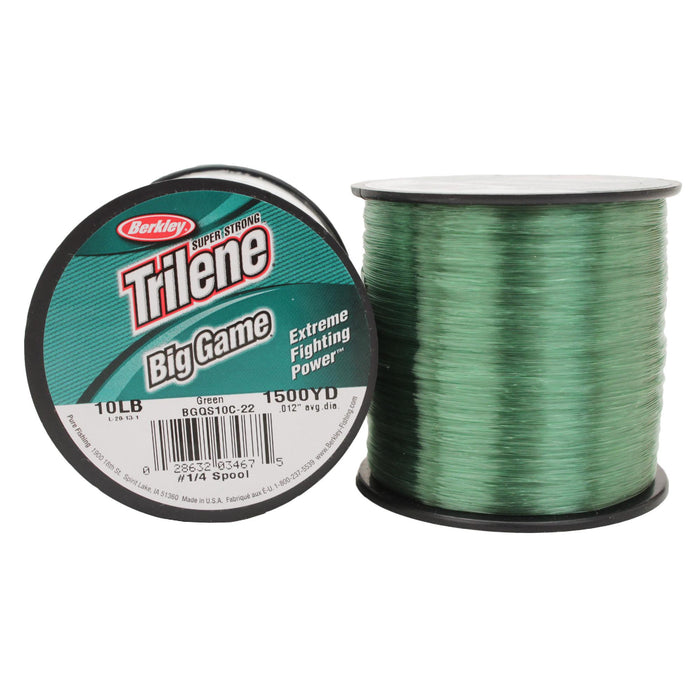 "Trilene Big Game Monofilament Line Spool - 1500 Yards, 0.012"" Diameter, 10 lb Breaking Strength, Green"