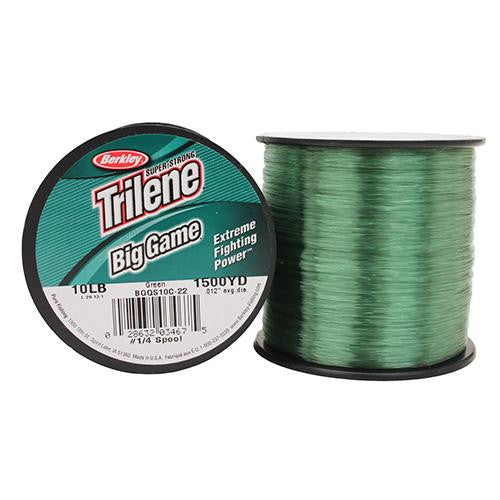 "Berkley Trilene Big Game Monofilament Line Spool - 900 Yards, 0.015"" Diameter, 15 lb Breaking Strength, Green"