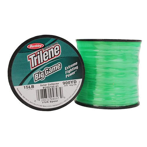 "Berkley Trilene Big Game Monofilament Line Spool - 900 Yards, 0.015"" Diameter, 15 lb Breaking Strength, Solar Collector"