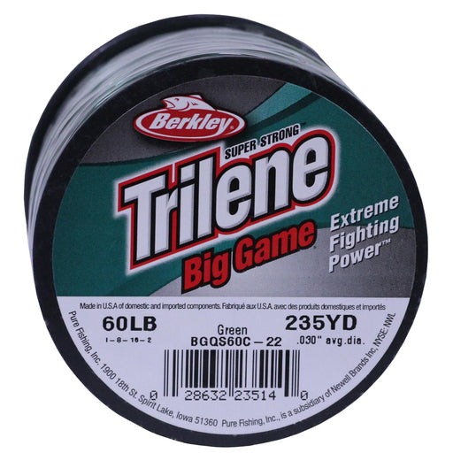 "Trilene Big Game Monofilament Line Spool - 235 Yards, 0.030"" Diameter, 60 lbs Breaking Strength, Green"