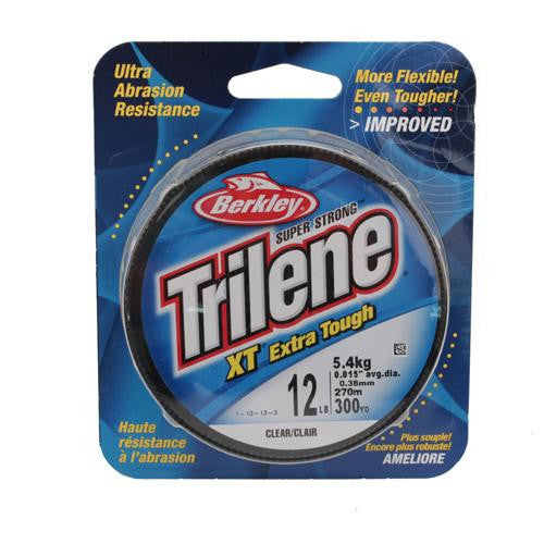 "Berkley Trilene XT  Monofilament Line Spool - 300 Yards, 0.015"" Diameter, 12 lb Breaking Strength, Clear"