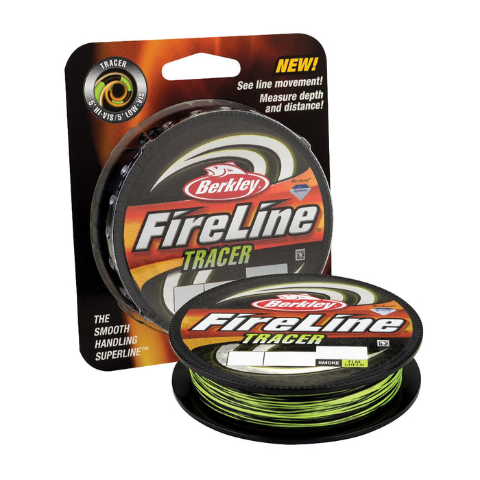 "FireLine Fused Tracer Superline Line Spool - 125 Yards, 0.015"" Diameter, 30 lb Breaking Strength, Smoke-Flame Green"