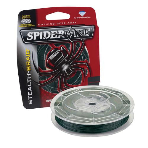 "Spiderwire Stealth Braid Superline Line Spool - 500 Yards, 0.0085"" Diameter, 15 lbs Break Strength, Moss Green"