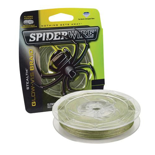 "Spiderwire Stealth Braid Superline Line Spool - 300 Yards, 0.008"" Diameter, 10 lbs Breaking Strength, Glow Vis Green"