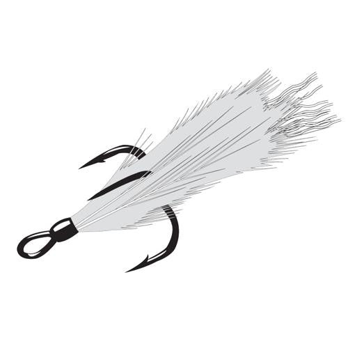 Feathered Treble Hook - Size 6, NS Black, Per 2