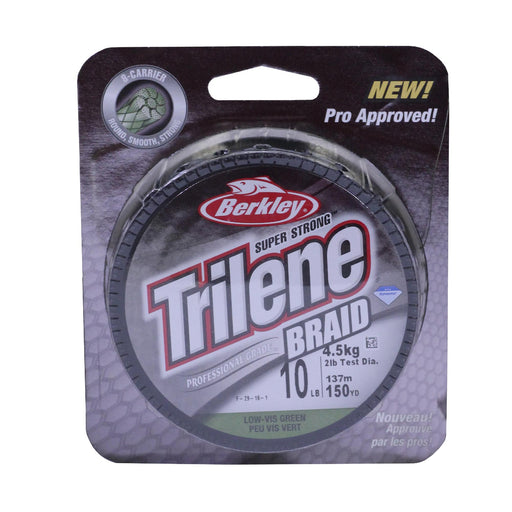 Trilene Braid Professional Grade Superline Line Spool - 150 Yards, 10 lbs Breaking Strength, 2 lb Superline Mono Equiv, Low-Vis Green