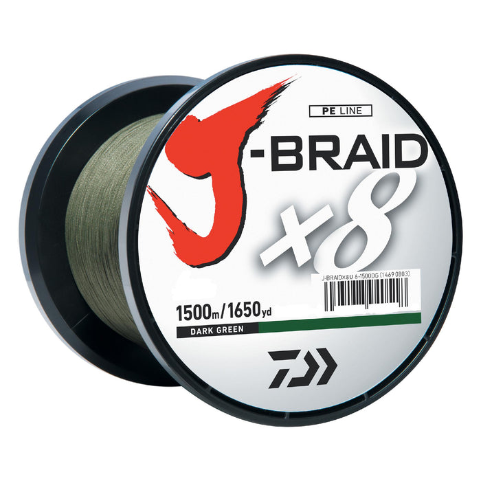 J-Braid Braided Line - 30 lbs Tested, 1650 Yards-1500m Filler Spool, Dark Green