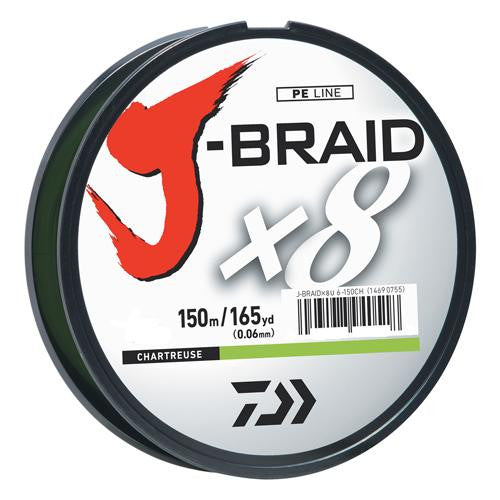 Daiwa J-Braid Braided Line, 40 lbs Tested - 165 Yards-150m Filler Spool, Chartreuse
