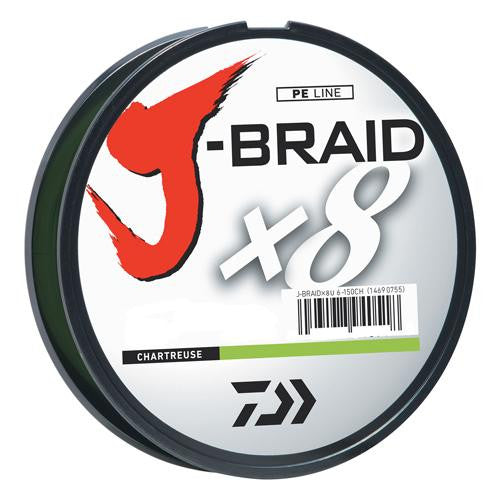 Daiwa J-Braid Braided Line, 40 lbs Tested - 330 Yards-300m Filler Spool, Chartreuse