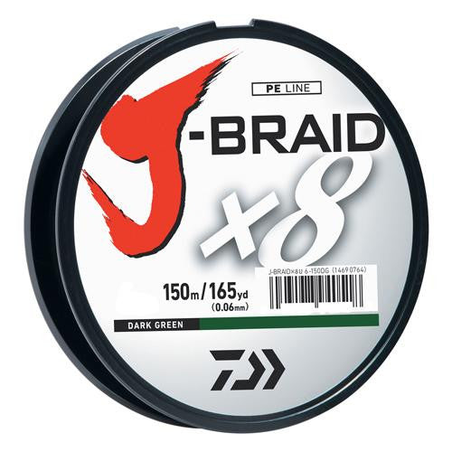 Daiwa J-Braid Braided Line, 50 lbs Tested - 165 Yards-150m Filler Spool, Dark Green