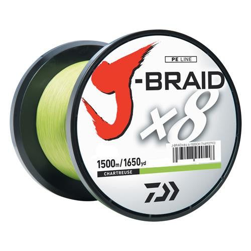 Daiwa J-Braid Braided Line, 8 lbs Tested - 1650 Yards-1500m Filler Spool, Chartreuse