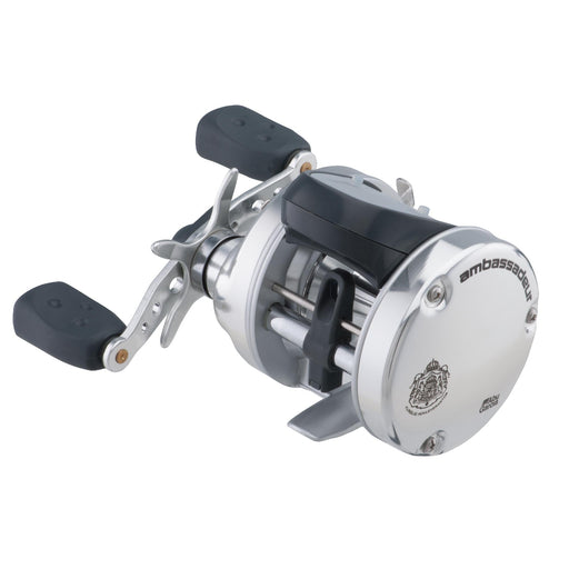 "Ambassadeur s Line Counter Baitcast Round Reel - 5500, 5.3:1 Gear Ratio, 3 Bearing, 25 1-2"" Retrieve Rate, Right Hand, Boxed"