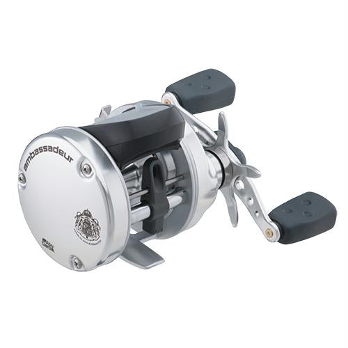 "Ambassadeur s Line Counter Baitcast Round Reel - 5500, 5.3:1 Gear Ratio, 3 Bearing, 25 1-2"" Retrieve Rate, Left Hand, Boxed"