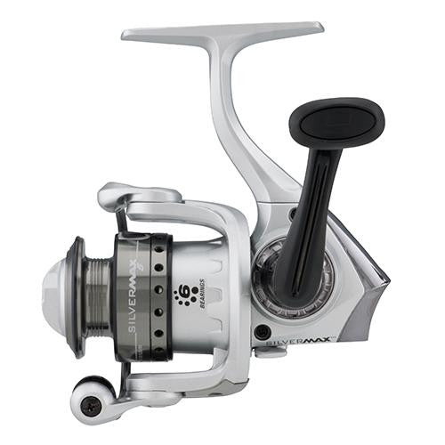 "Abu Garcia Silver Max Spinning Reel - 5, 5.2:1 Gear Ratio, 6 Bearings, 20 1-2"" Retrieve Rate, Ambidextrous, Boxed"