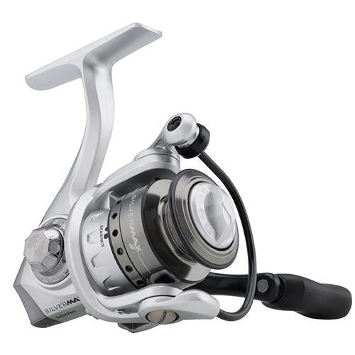 "Abu Garcia Silver Max Spinning Reel - 5, 5.2:1 Gear Ratio, 6 Bearings, 20 1-2"" Retrieve Rate, Ambidextrous, Clam Pack"