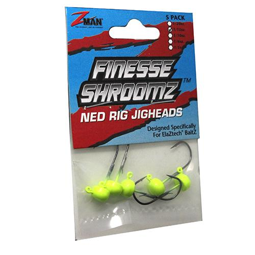 Finesse Shroomz Hooks - 1-6 oz Size, Chartreuse, Per 5