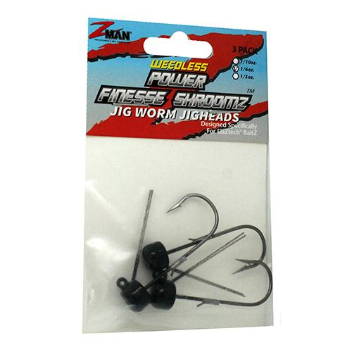 Power Finesse Shroomz Weedless Hooks - 1-6 oz Weight, 3-0 Hook, Black, Per 3