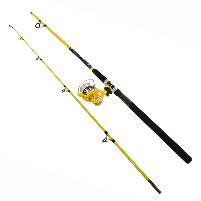 Fin-Chaser Spinning Combo - 60 Reel Size, 1BB Bearings, 9' Length 2pc, 3-4-2 1-2 oz Lure Rate, Ambidextrous
