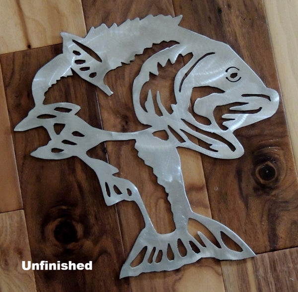 Bass or Fish metal wall hanging. Bass metal wall art silhouette. horseflymetalart.com
