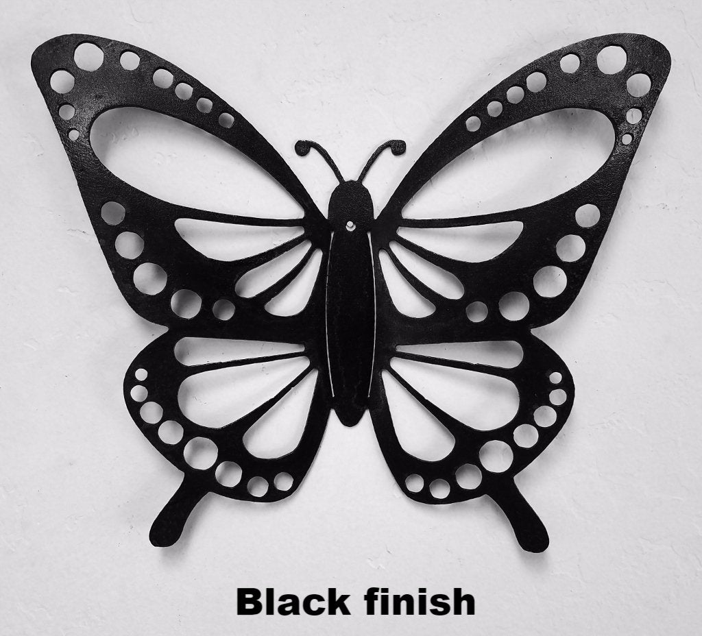 butterfly metal wall art silhouette butterfly wall hanging wildlife art horsefly metal works llc. Black Bedroom Furniture Sets. Home Design Ideas