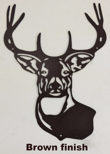 Metal Deer wall art silhouette. log cabin metal wall art. Wildlife wall hanging horseflymetalart.com