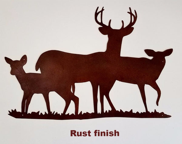 Deer metal wall art silhouette. Wildlife Deer wall hanging. horseflymetalart.com