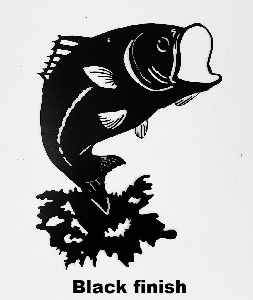 Bass metal wall art silhouette. Jumping Fish metal wall art. Bass or Fish Wildlife metal wall hanging