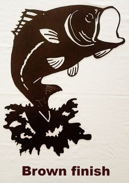 Jumping Fish metal wall art. Bass Metal Wall Art Silhouette